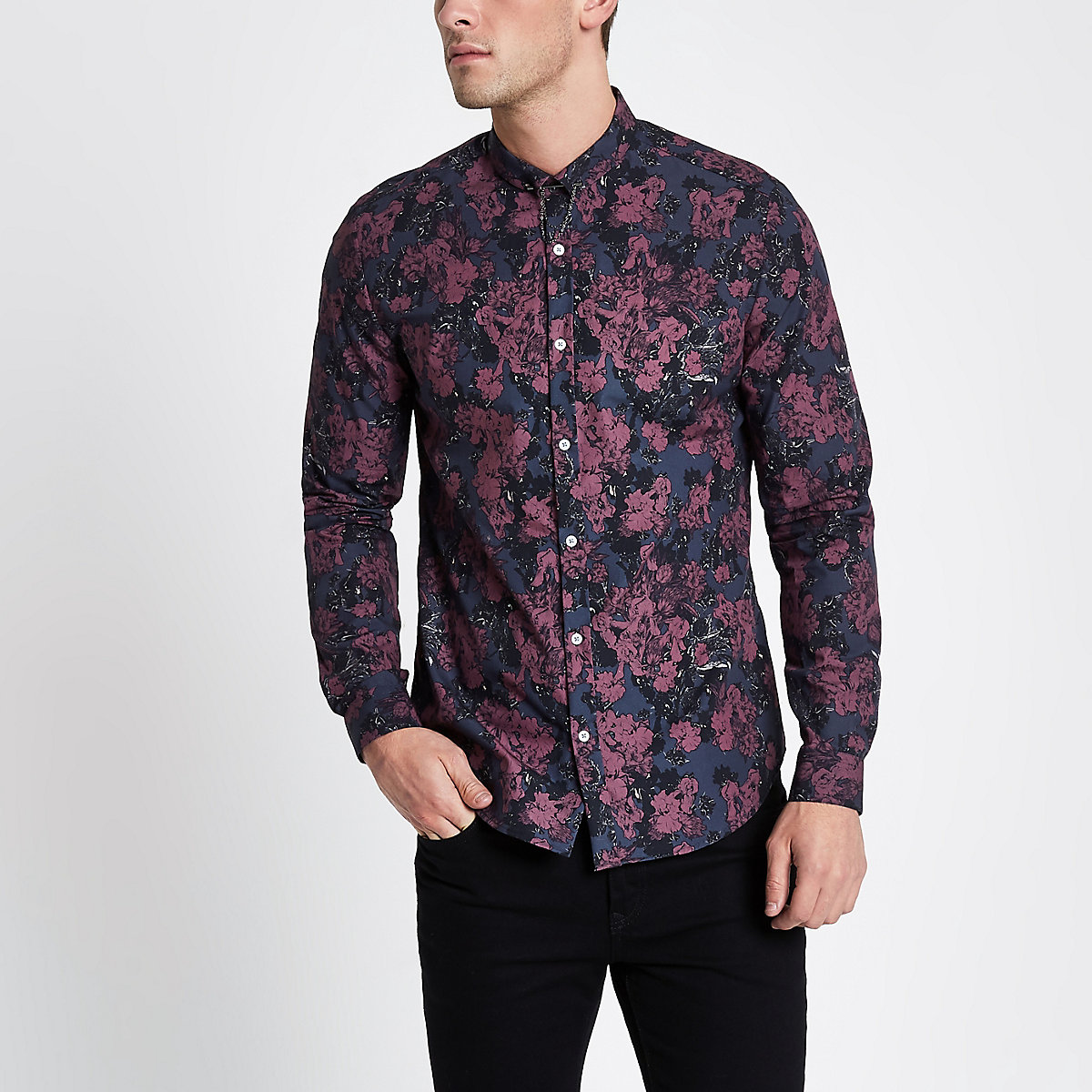 Burgundy floral long sleeve slim fit shirt