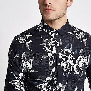 Chemise manches longues slim à fleurs noire et blanche
