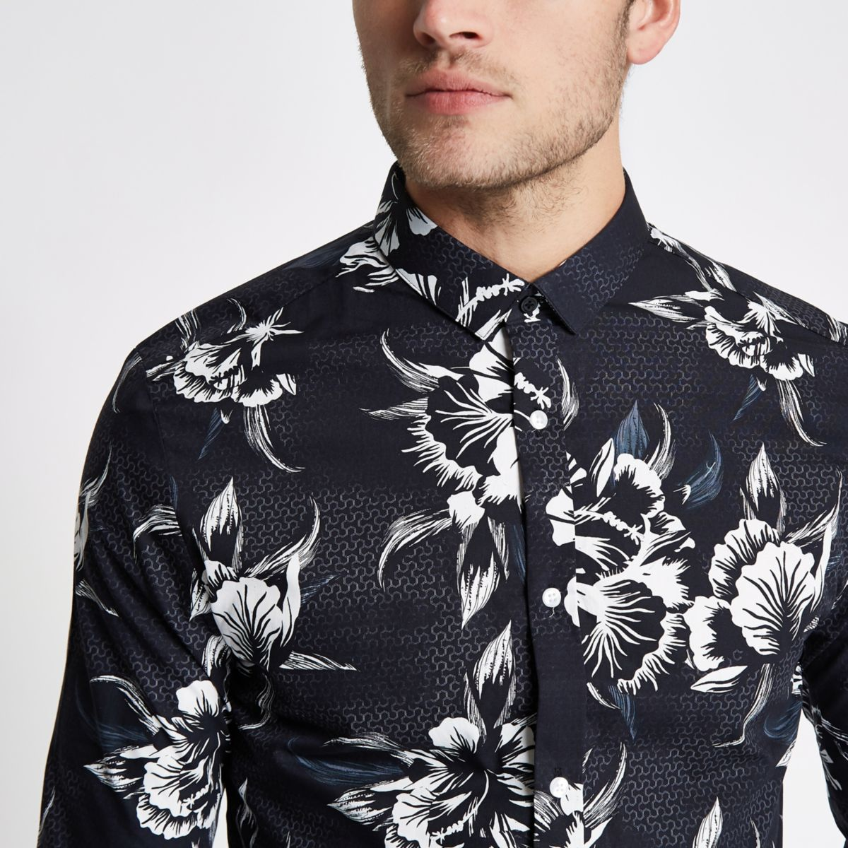 Black mono floral print long sleeve slim fit