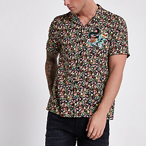 Green floral print embroidered shirt