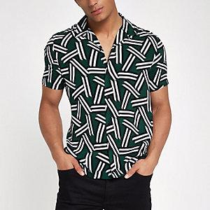 Donkergroen overhemd met print, korte mouwen en reverskraag