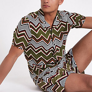Hemd in Khaki mit Print