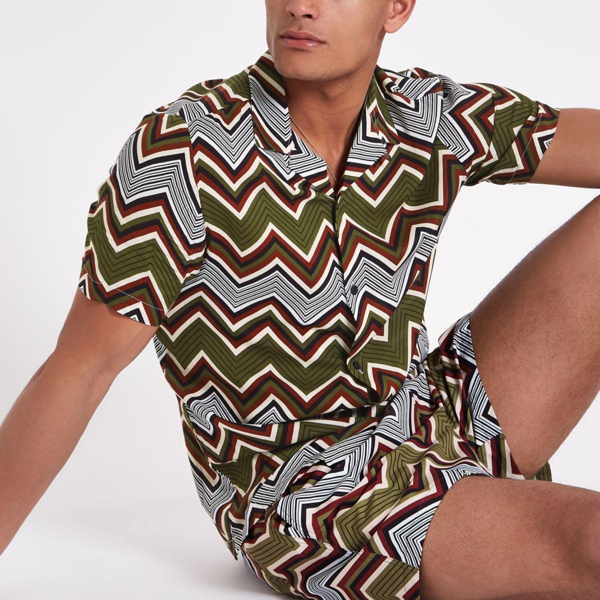 Khaki zig zag print shirt