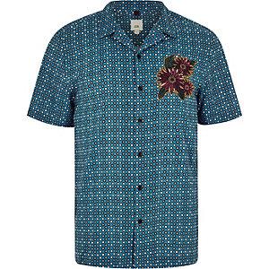 Blauw  geborduurd overhemd met bloemen- en tegelprint