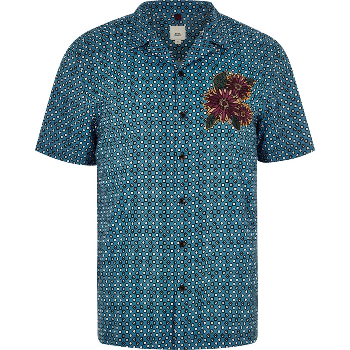 ​Blue tile print floral embroidered shirt