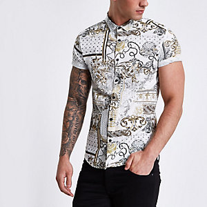 Crème slim-fit overhemd met barokprint en korte mouwen
