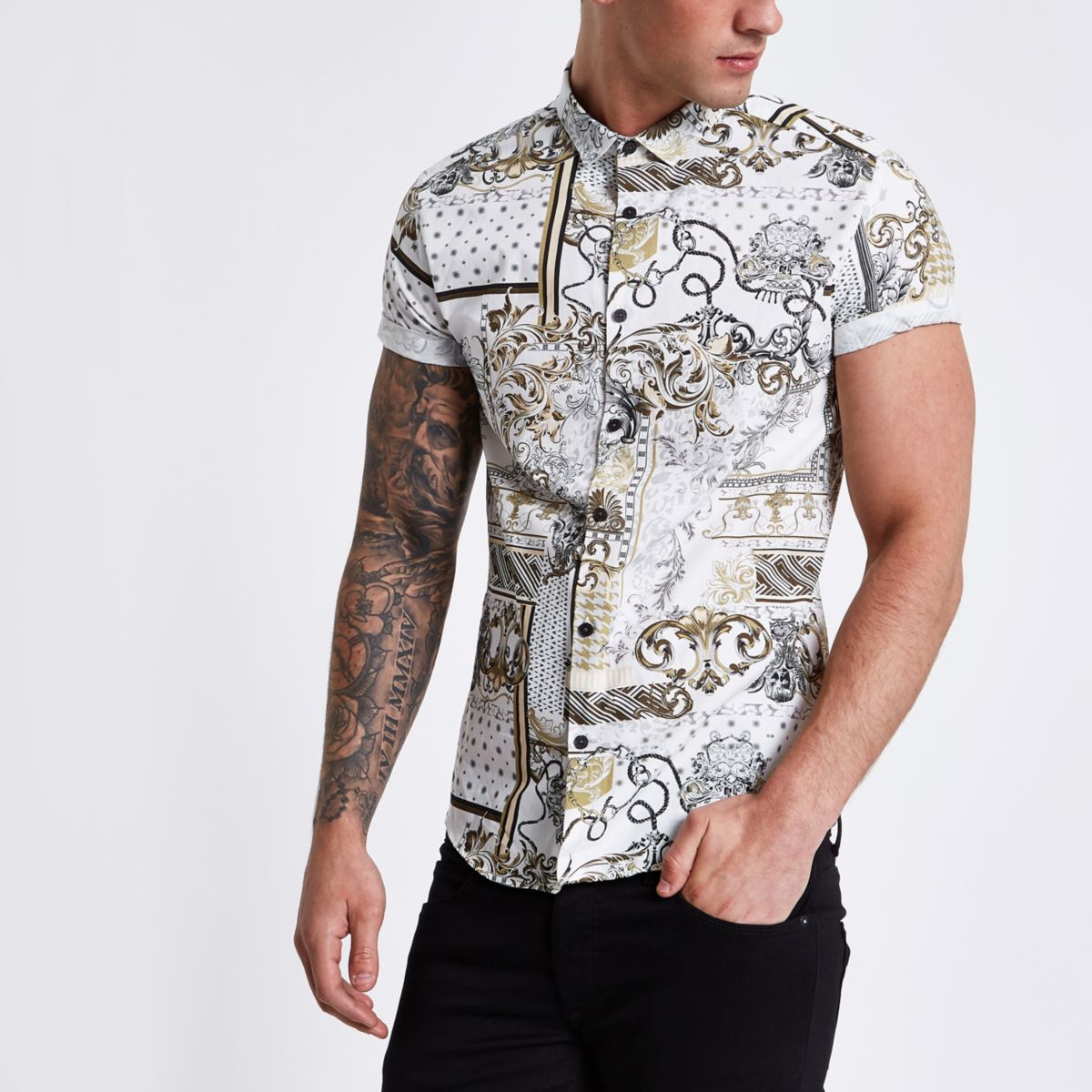 Mens Cream baroque short sleeve slim fit shirt River Island