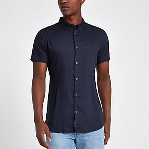 Navy short sleeve slim fit shirt