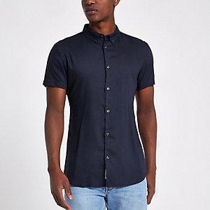 Marineblaues, kurzärmeliges Slim Fit Hemd