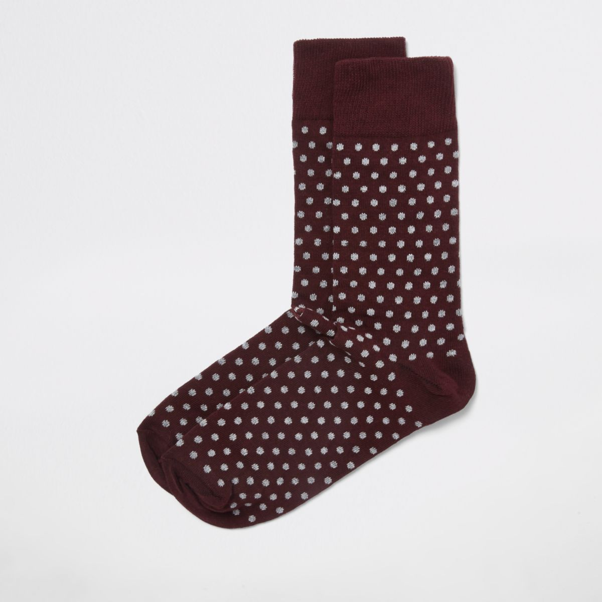 Burgundy polka dot socks