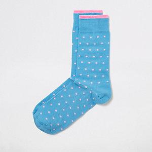 Chaussettes à pois bleues