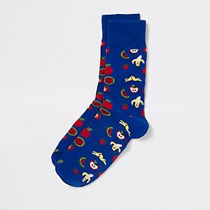 Blauwe novelty-sokken met fruitprint