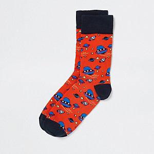 Orange space novelty socks