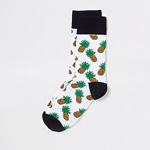 White pineapple novelty socks