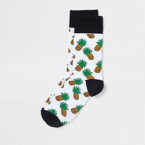 White pineapple novelty socks
