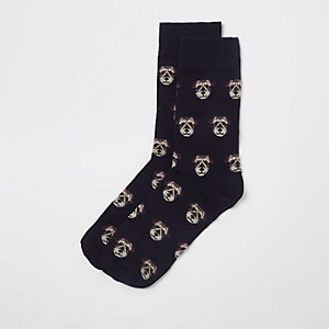 Navy dog novelty socks