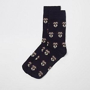 Marineblauwe novelty-sokken met hondenprint