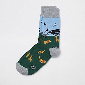 Green safari novelty socks