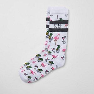 Weiße Socken mit Flamingo-Print
