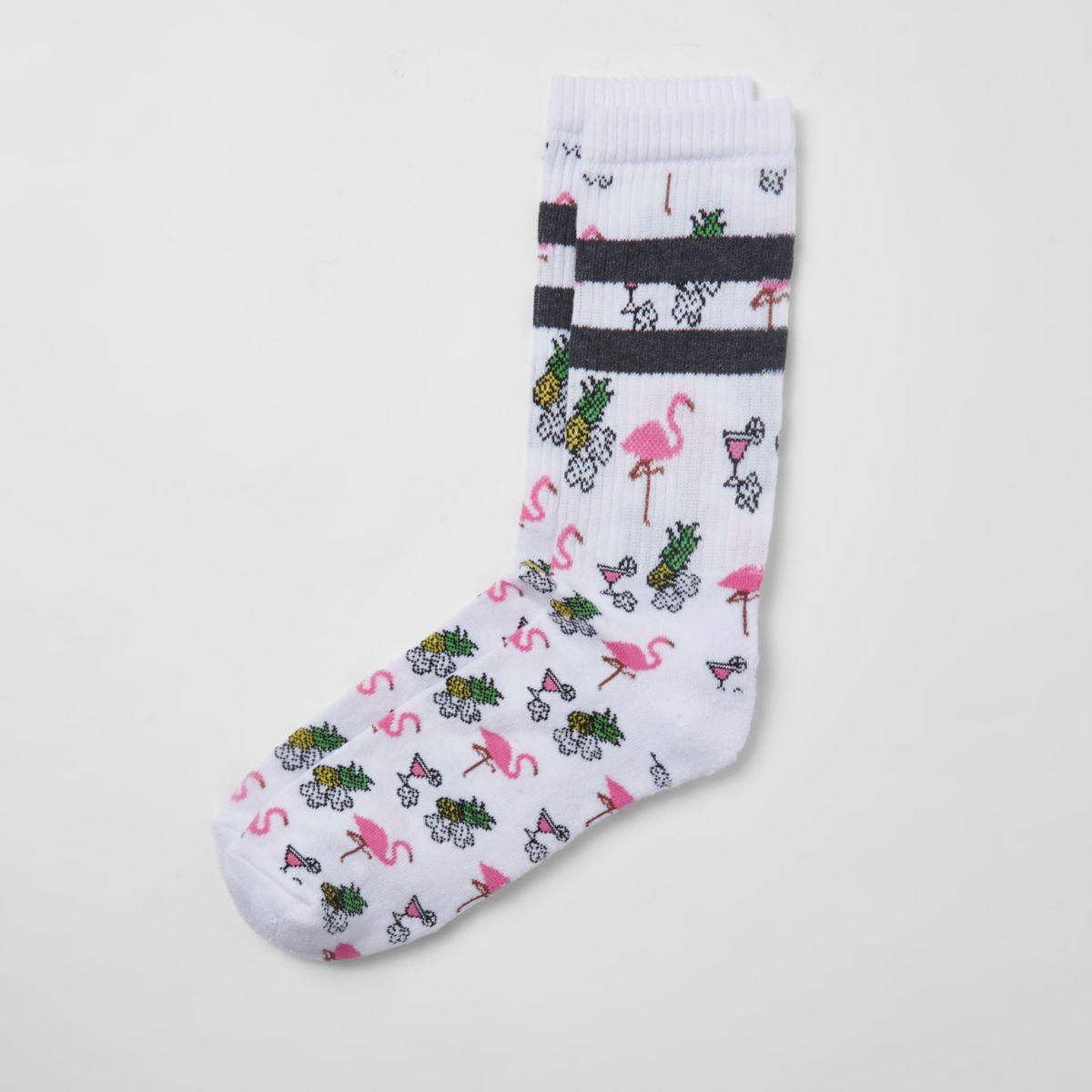 White flamingo novelty socks