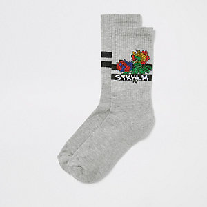 Chaussettes «Stkhlm» à fleurs grises