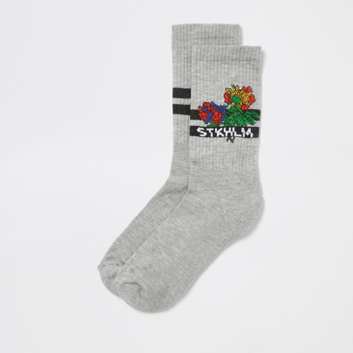 Grey floral 'Stkhlm' socks