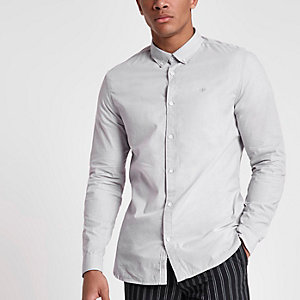 Graues Slim Fit Langarmhemd