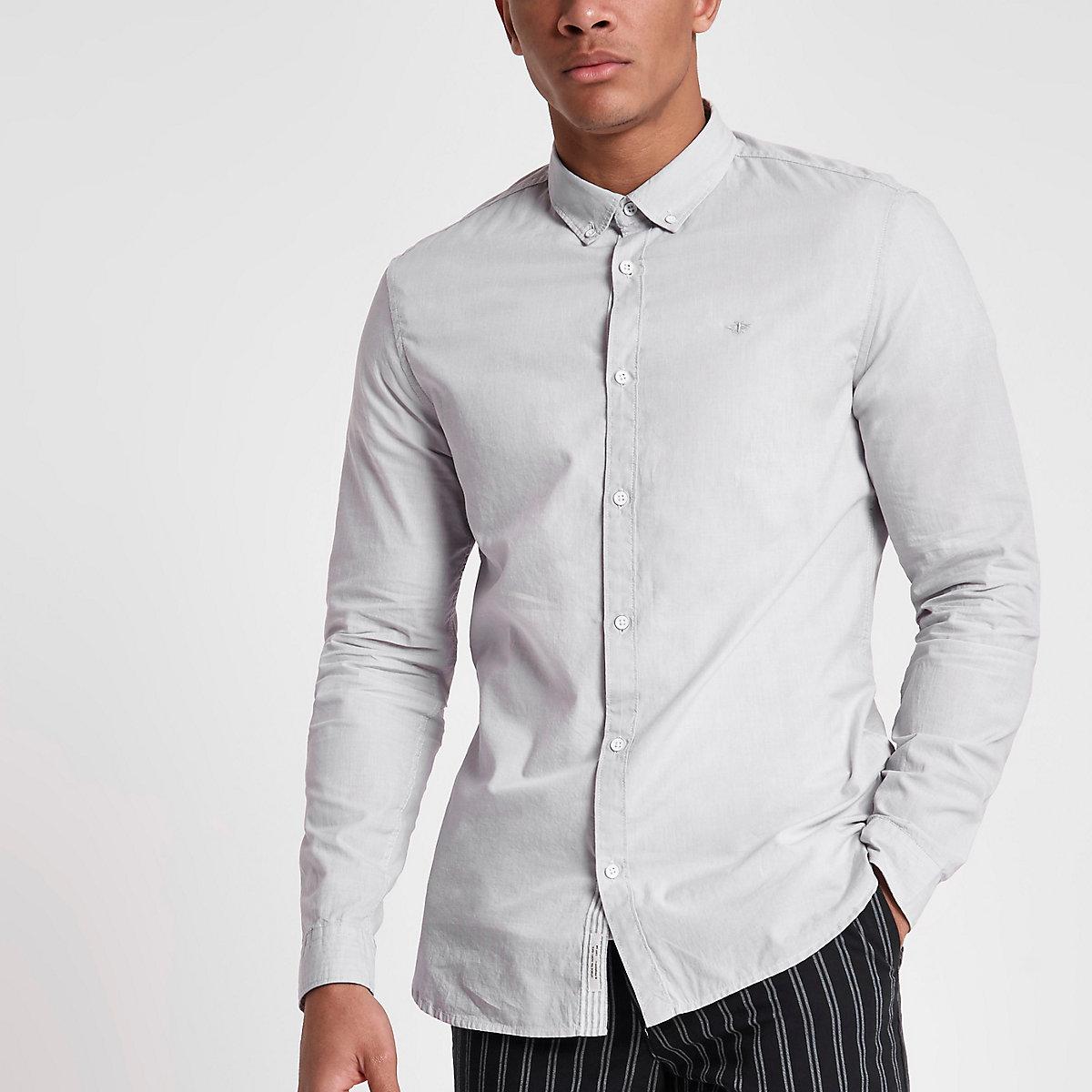 Grey slim fit long sleeve shirt