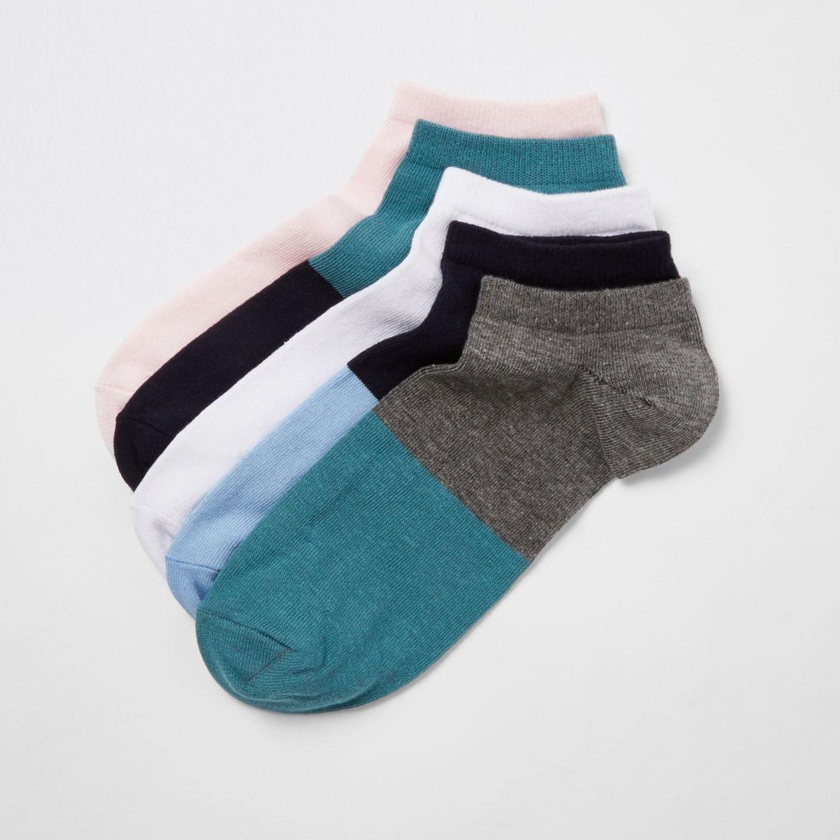 Blue colour block trainer socks multipack