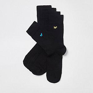 Multipack zwarte sokken met geborduurd paard