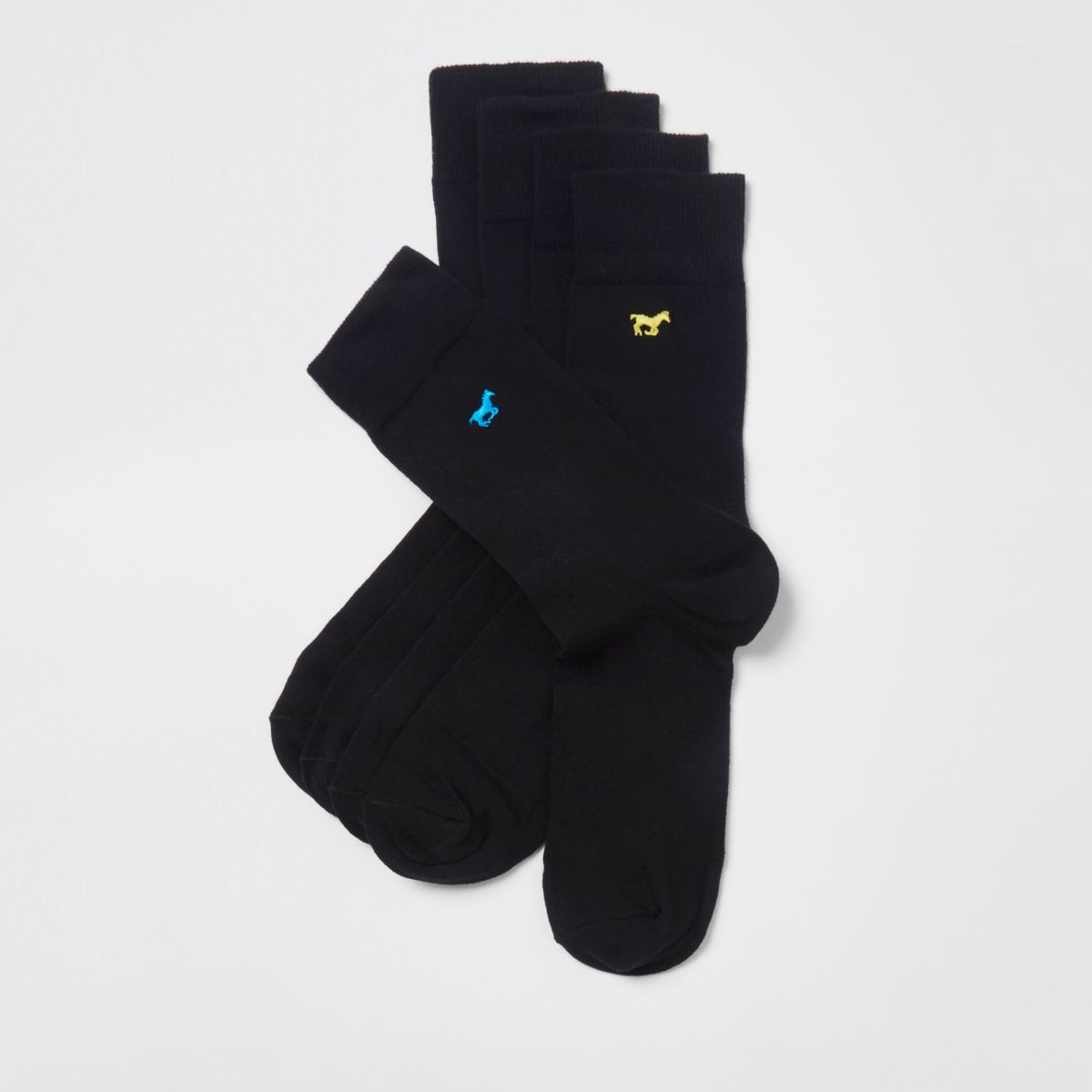 Black horse embroidered socks multipack
