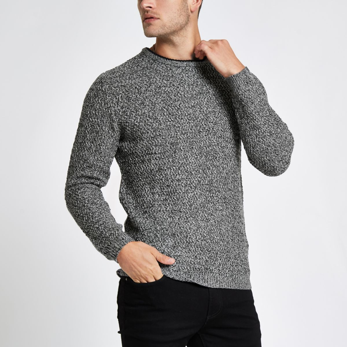 Grey knit long sleeve slim fit jumper