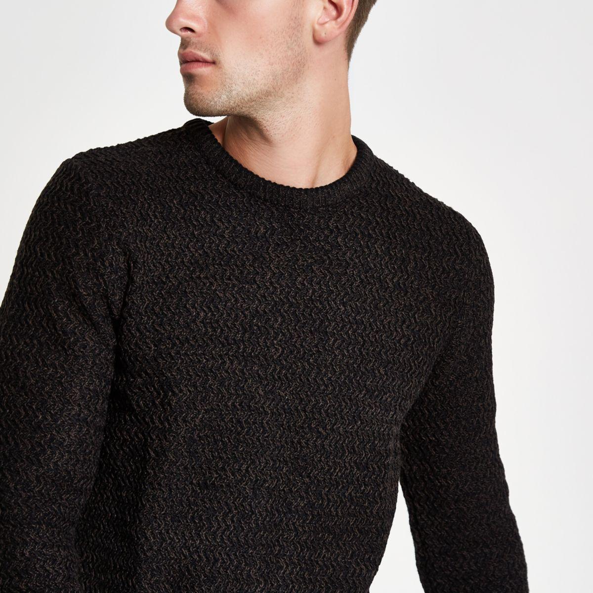 Black knit slim fit crew neck sweater