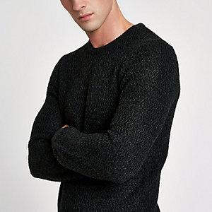 Green knit slim fit crew neck jumper