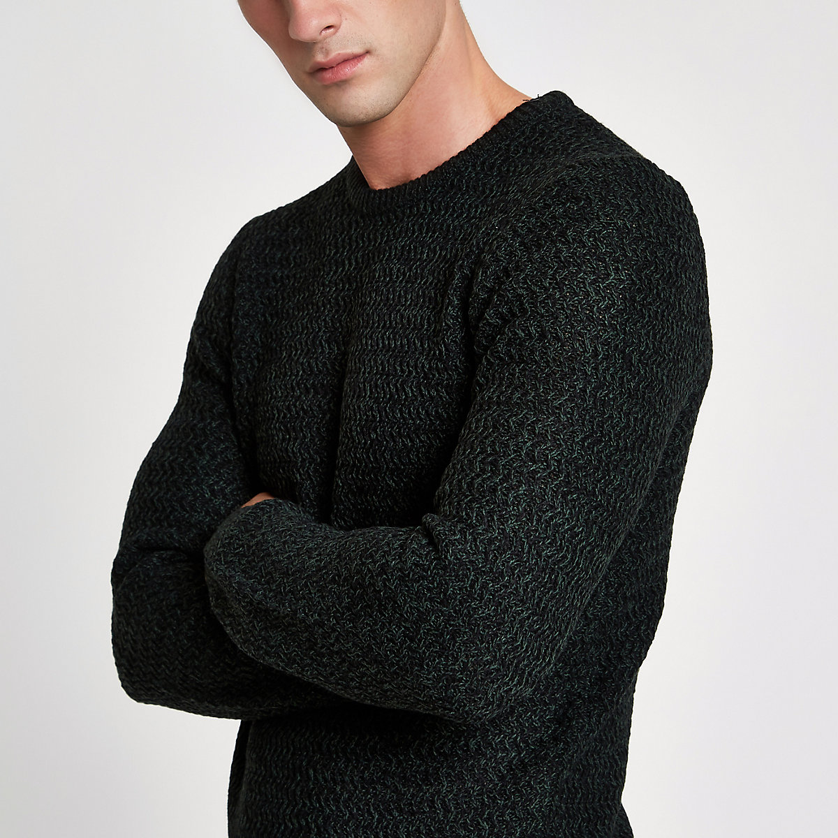Green knit slim fit crew neck sweater