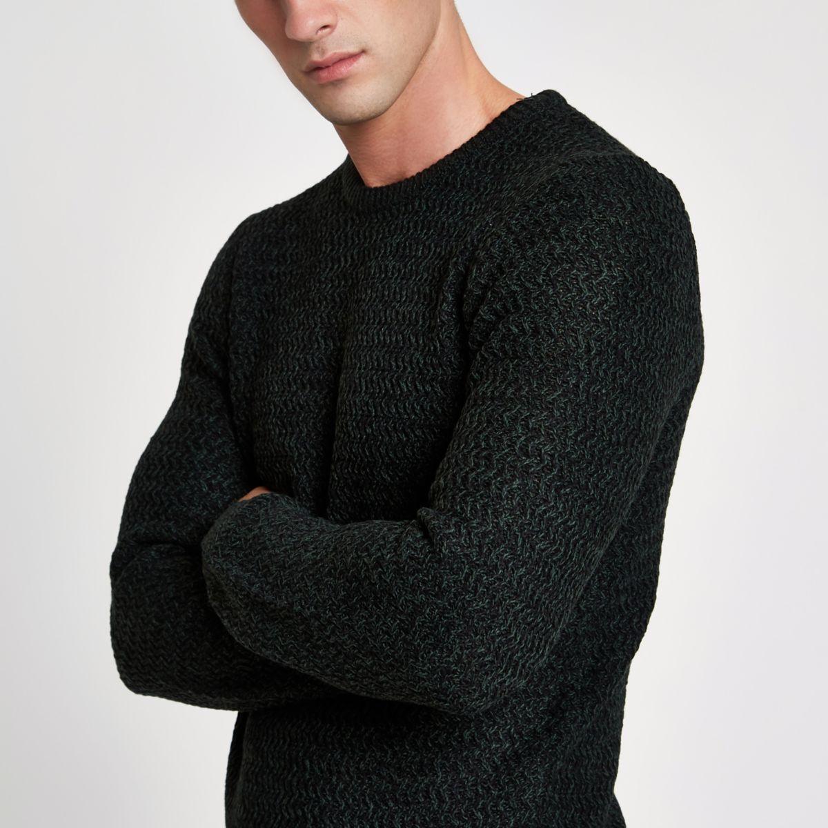 Green knit slim fit crew neck jumper