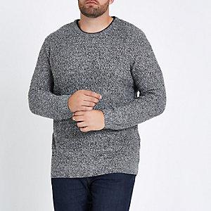 Big and Tall grey slim fit textured jumper