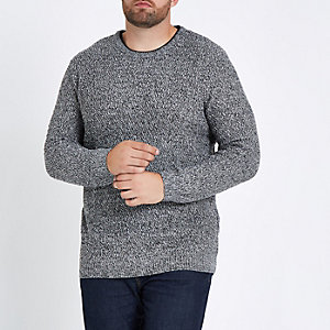 Big and Tall - Grijze slim-fit pullover met textuur