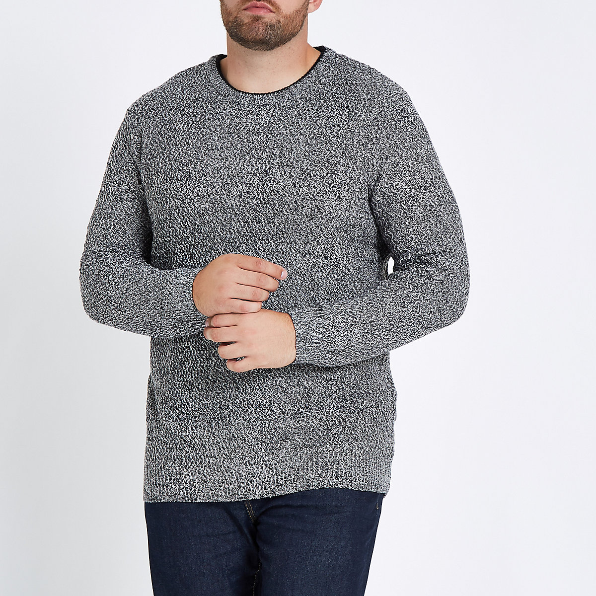 Big and Tall – Grauer Slim Fit Pullover mit Struktur
