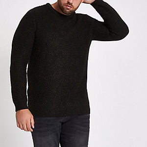 RI Big and Tall - Zwarte slim-fit pullover met textuur