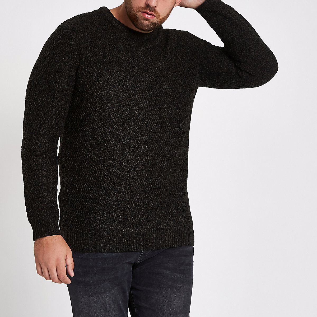 Big and Tall black slim fit textured sweater