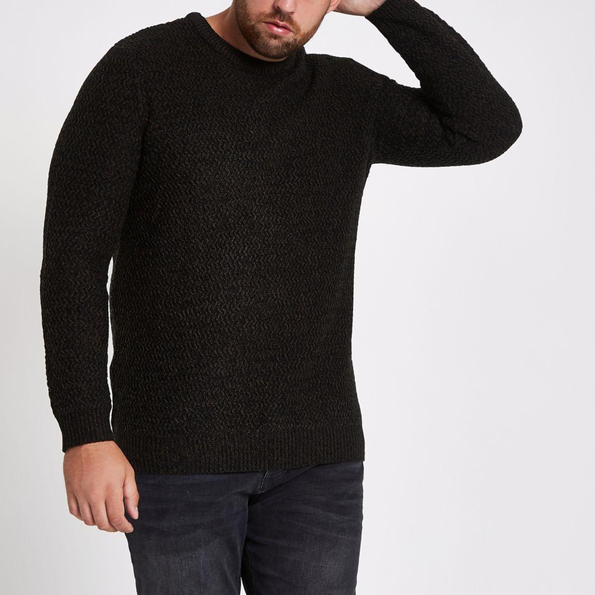 Big & Tall – Schwarzer, strukturierter Slim Fit Pullover