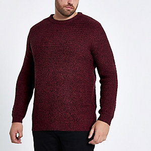Big and Tall red slim fit textured jumper