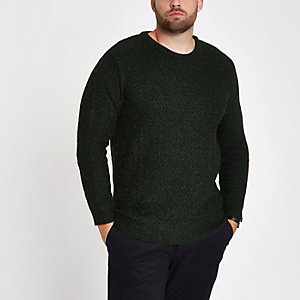 Big & Tall – Grüner, strukturierter Slim Fit Pullover