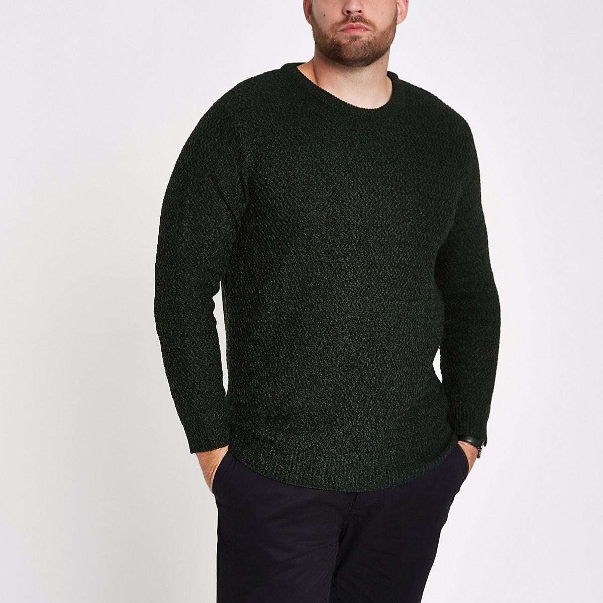 Big & Tall – Grüner, strukturierter Slim Fit Pullover