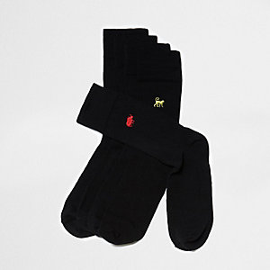 Big & Tall black animal socks multipack