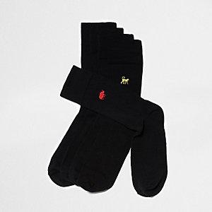 Big & Tall - Multipack zwarte sokken met dieren