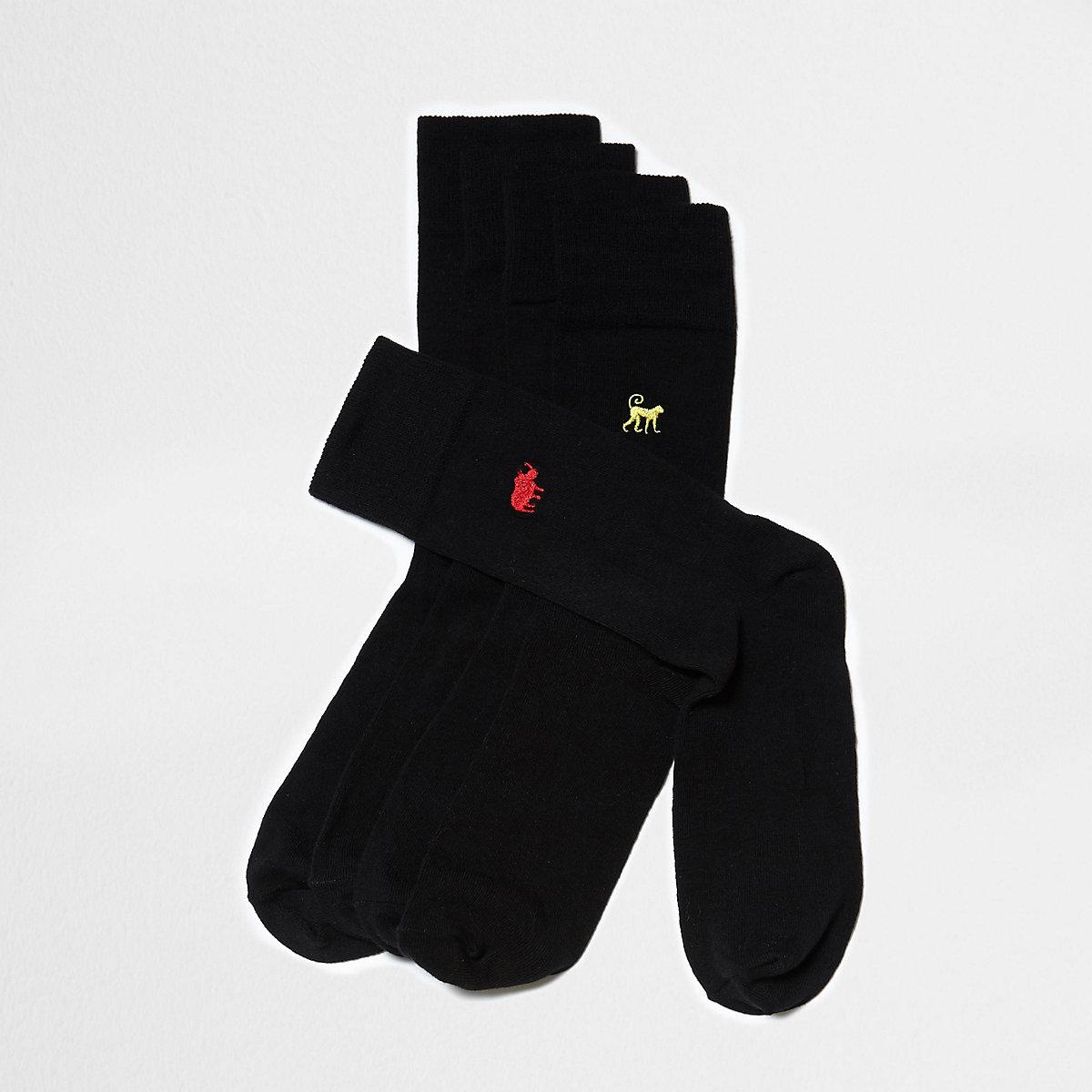 Big and Tall – Lot de 5 paires de chaussettes motif animal noires