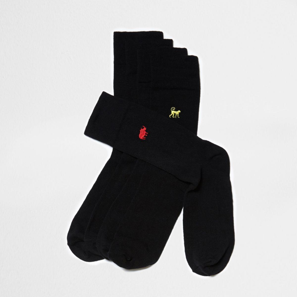 Black animal embroidered socks multipack