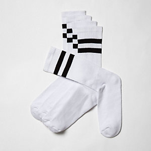 Big and Tall – Weiße, gestreifte Socken, 5er-Pack
